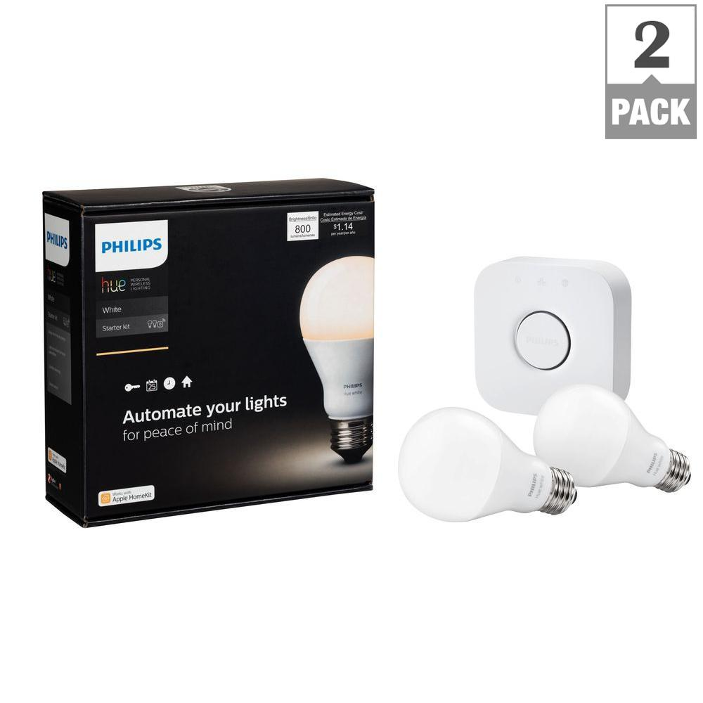 Philips Hue White A19 LED 60W Equivalent Dimmable Smart Wireless Lighting  Starter Kit (2 Bulbs