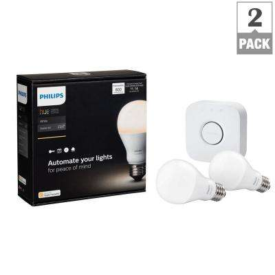 Hue White A19 LED 60W Equivalent Dimmable Smart Wireless Lighting Starter Kit (2 Bulbs, and Bridge)