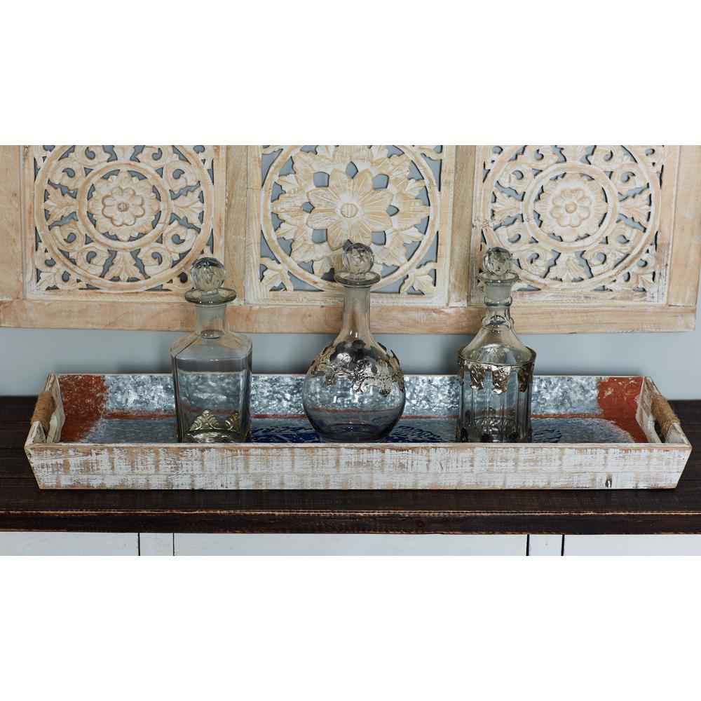 Metallic Gray Decorative Trays with Brown and Blue Accents (Set of