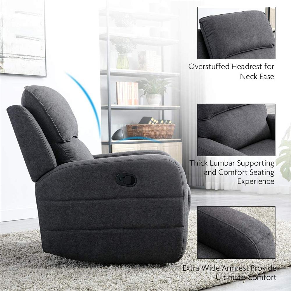 Boyel Living Gray Oversize Design Recliner Chair, Manual