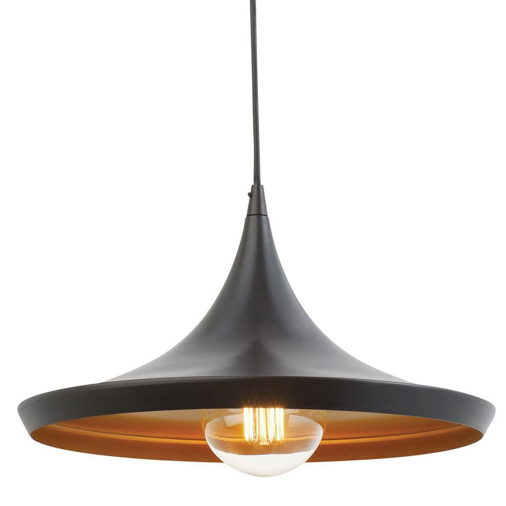 Globe Electric 1-Light Flat Modern Industrial Oil Rubbed Bronze and Gold Pendant