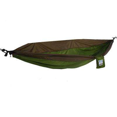 1-Person Green/Sand Brown Travel Hammock Army
