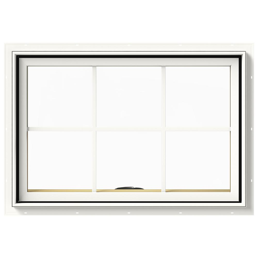 JELD-WEN 36 in. x 24 in. W-2500 Series White Painted Clad Wood Awning Window w/ Natural Interior and Screen