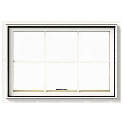 36 in. x 24 in. W-2500 Series White Painted Clad Wood Awning Window w/ Natural Interior and Screen