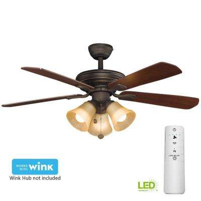 Westmount 44 in. LED Oil-Rubbed Bronze Smart Ceiling Fan with Light Kit and WINK Remote Control