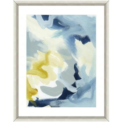 """""""Painting in blue"""" Framed Archival Paper Wall Art (26 in. x 32 in. in full size)"""