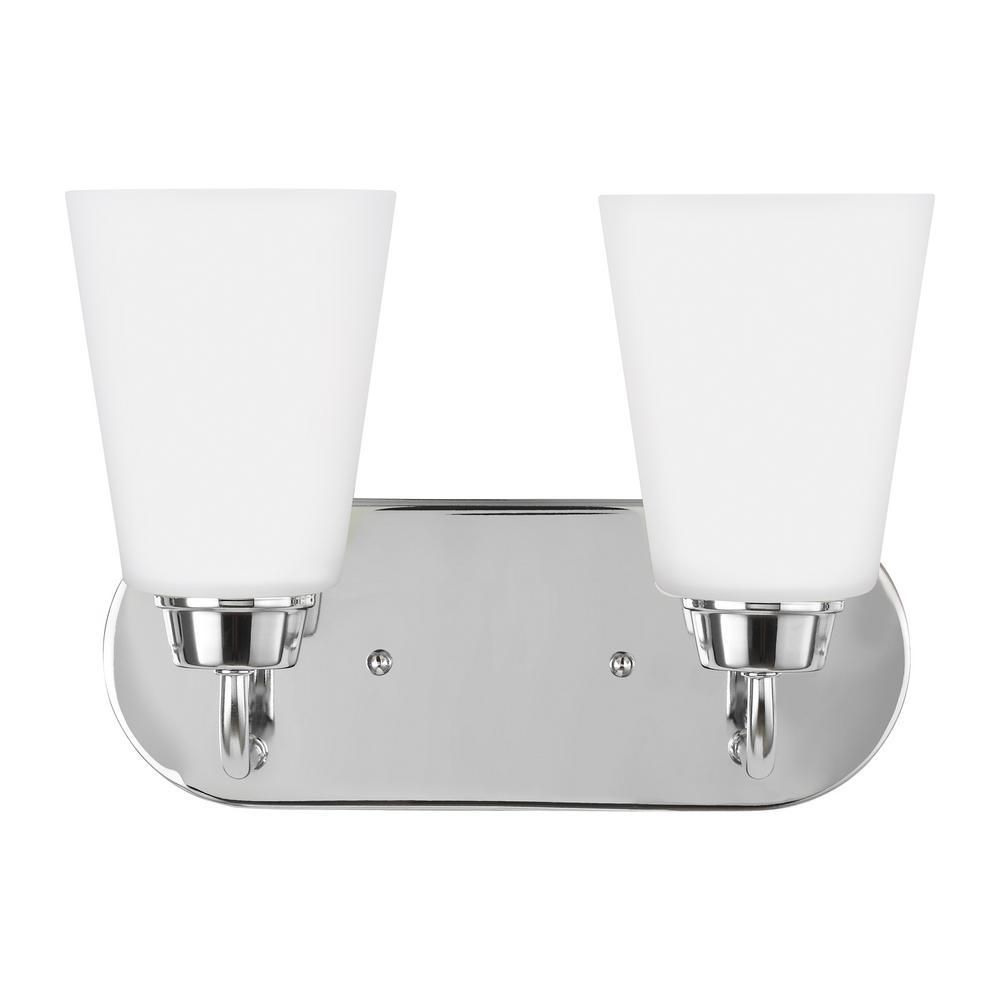 Kerrville 2-Light Chrome Bath Light with LED Bulbs