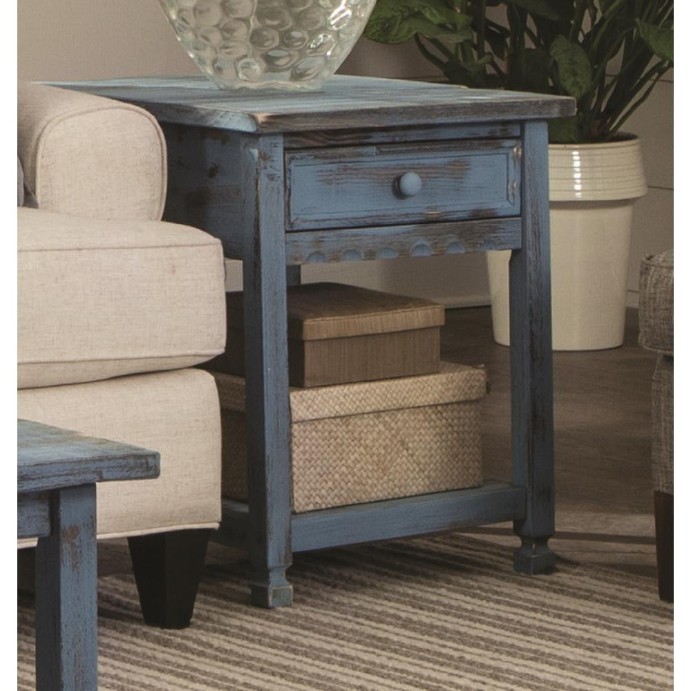 Alaterre Furniture Country Cottage Rustic Blue Antique End Table