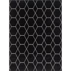 Trellis Frieze Black/Ivory 9 ft. x 12 ft. Geometric Area Rug