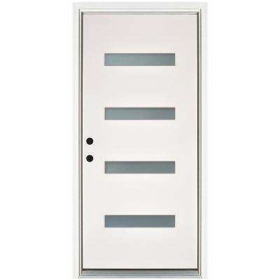 36 in. x 80 in. Transclear Modern Smooth White Right-Hand Inswing 4 Lite Frost Finished Fiberglass Prehung Front Door