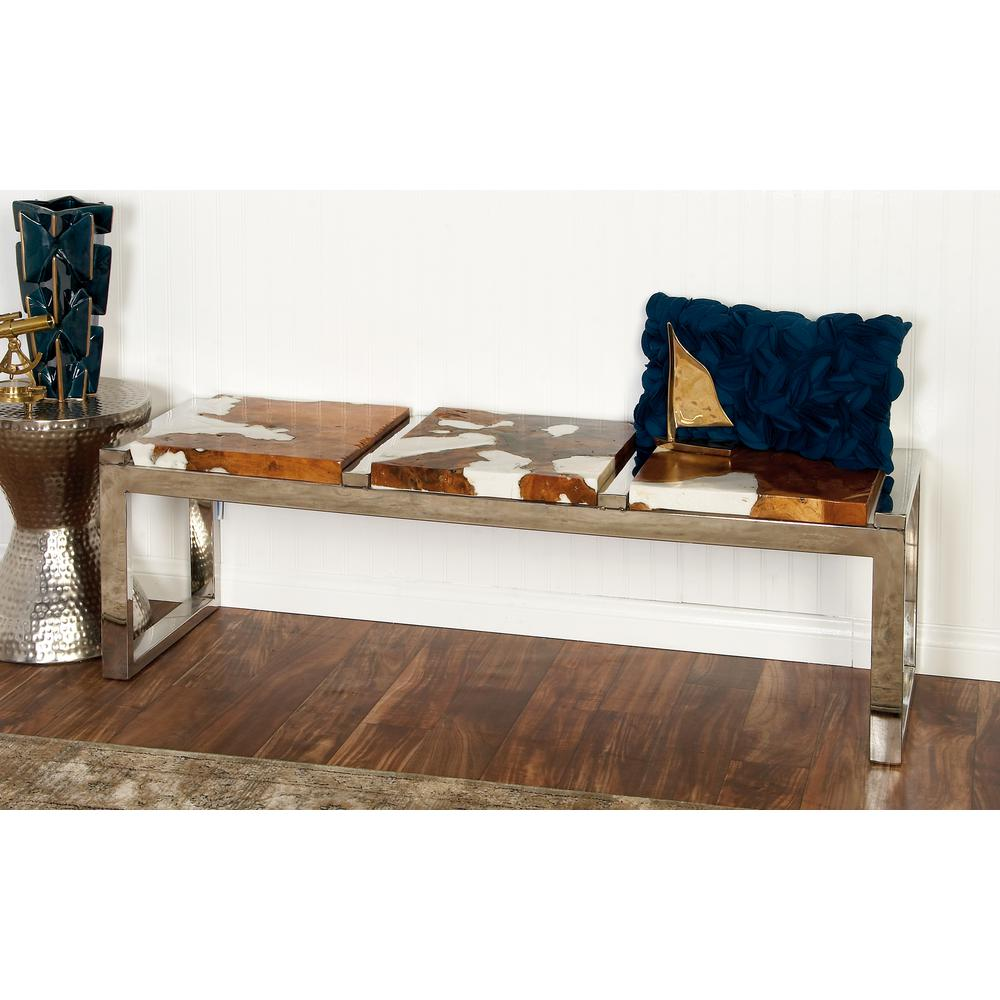Brown and Silver Modern Teak and Stainless Steel Bench