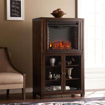 Albany 32.5 in. W Storage Tower Electric Fireplace in Grayed Espresso