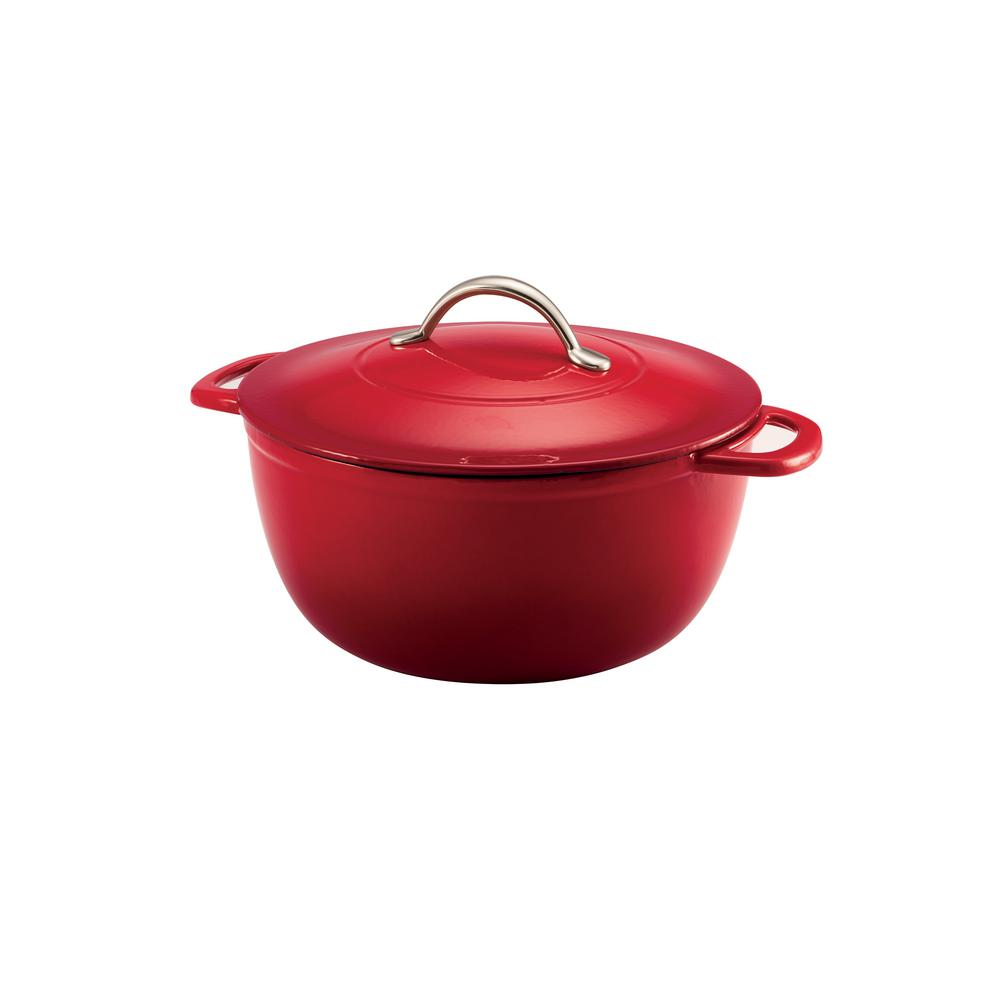 Gourmet 6.5 Qt. Enameled Cast Iron Round Dutch Oven with Lid