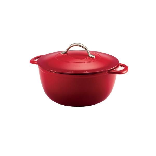 Gourmet Enameled 6.5 qt. Round Cast Iron Dutch Oven in Gradated Red with Lid