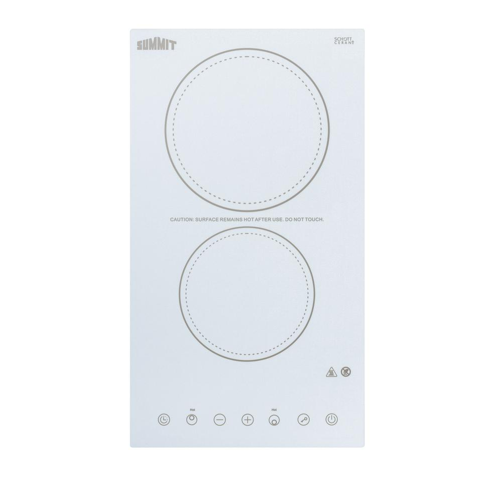Radiant Electric Cooktop In White With 2 Elements Including High Element