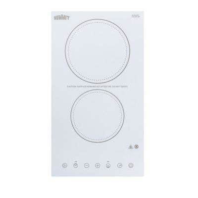 12 in. Radiant Electric Cooktop in White with 2 Elements including High Power Element