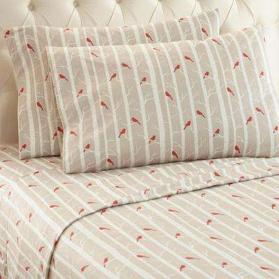 4-Piece Cardinals California King Polyester Sheet Set