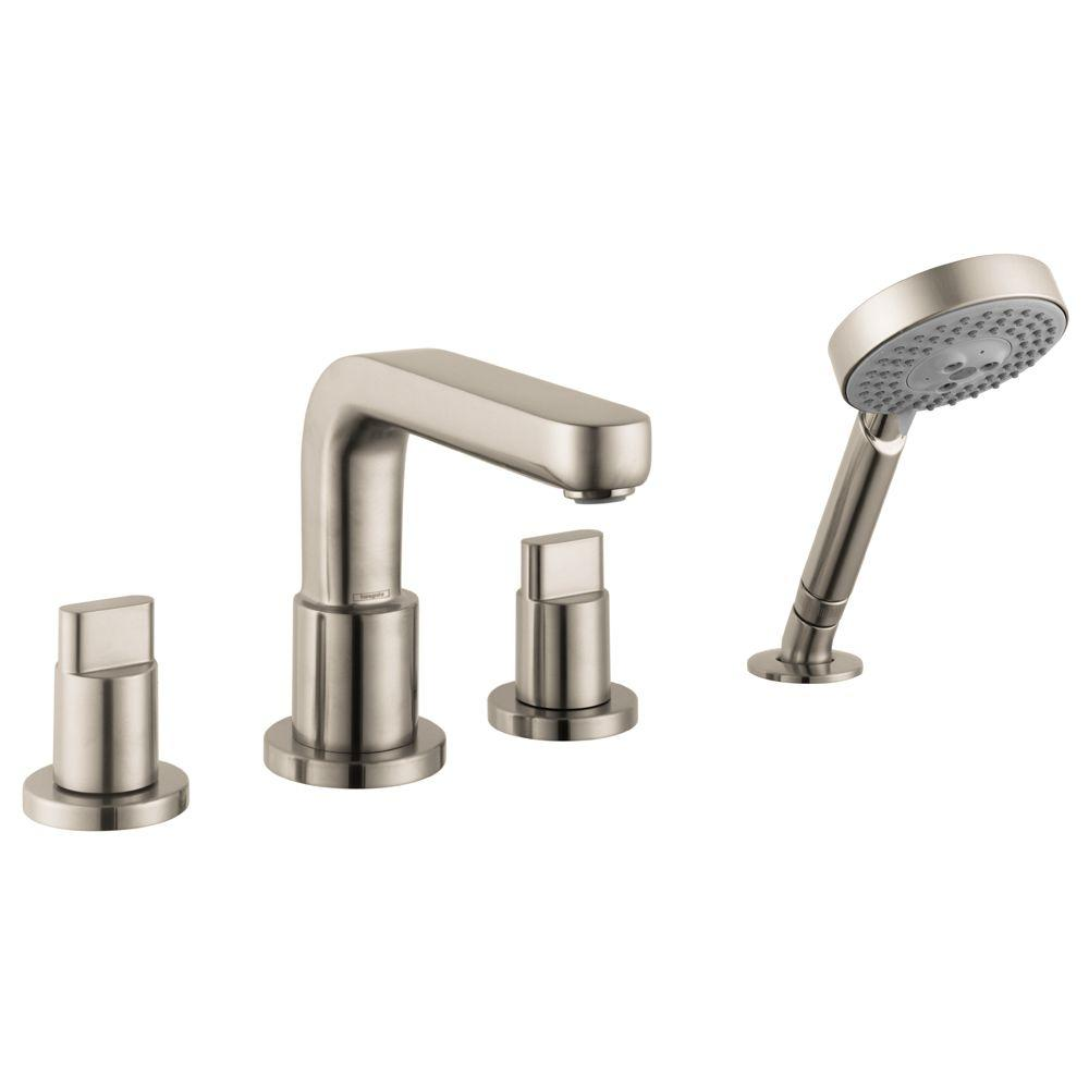 hansgrohe metris s full 2 handle deck mount roman tub faucet in brushed nickel valve not. Black Bedroom Furniture Sets. Home Design Ideas