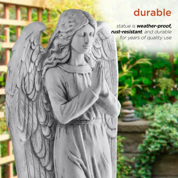 Alpine Corporation 47 In Tall Indoor Outdoor Praying Angel Statue Yard Art Decoration Light Gray Qfc100 The Home Depot