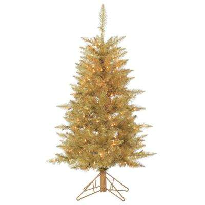 4 ft. Champagne Tuscany Artificial Christmas Tinsel Tree