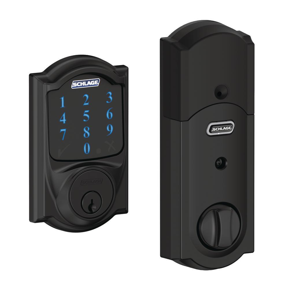 Camelot Matte Black Connect Smart Door Lock with Alarm