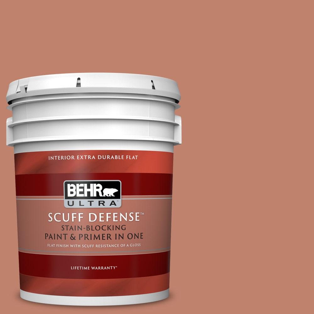 Behr Ultra 5 Gal Qe 03 Clay Ground Extra Durable Flat Interior Paint With Primer In One 172405 The Home Depot