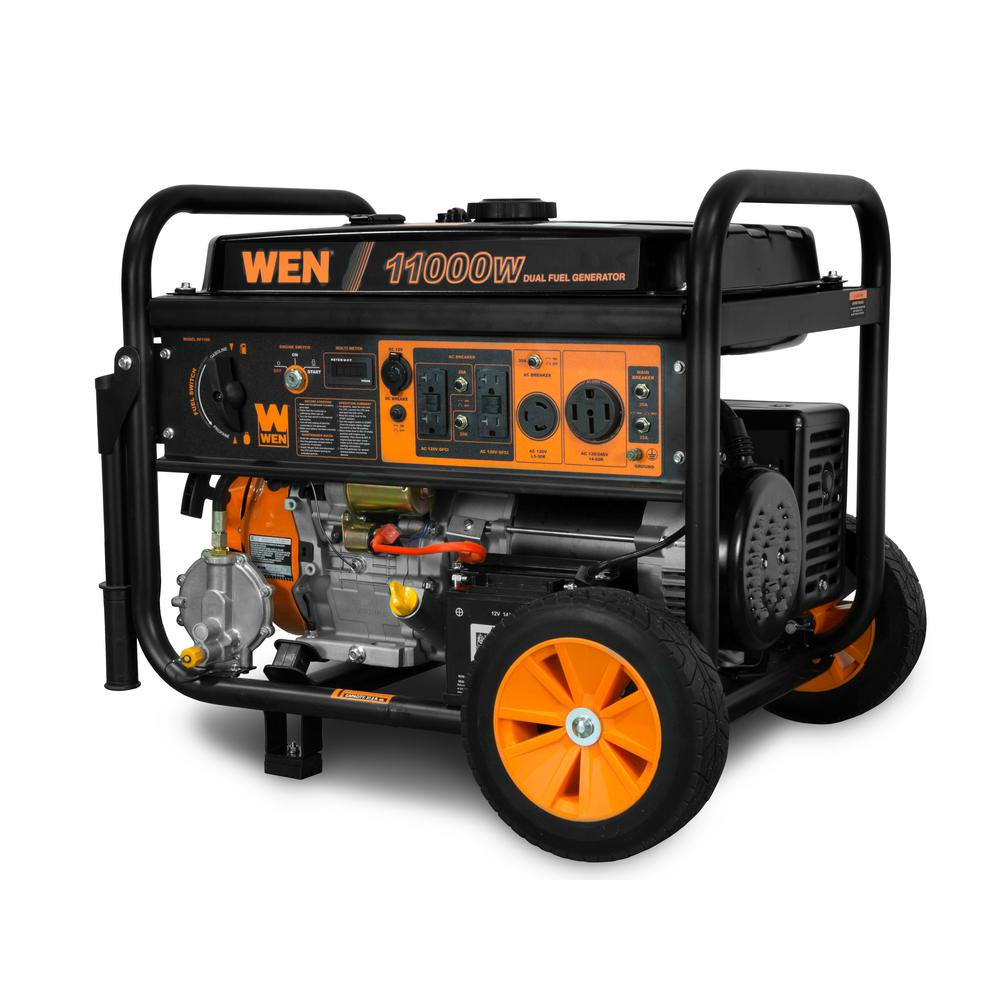 WEN 11,000/8,300-Watt 120V/240V Dual Fuel Gasoline and Propane Powered Electric Start Portable Generator with Wheel Kit