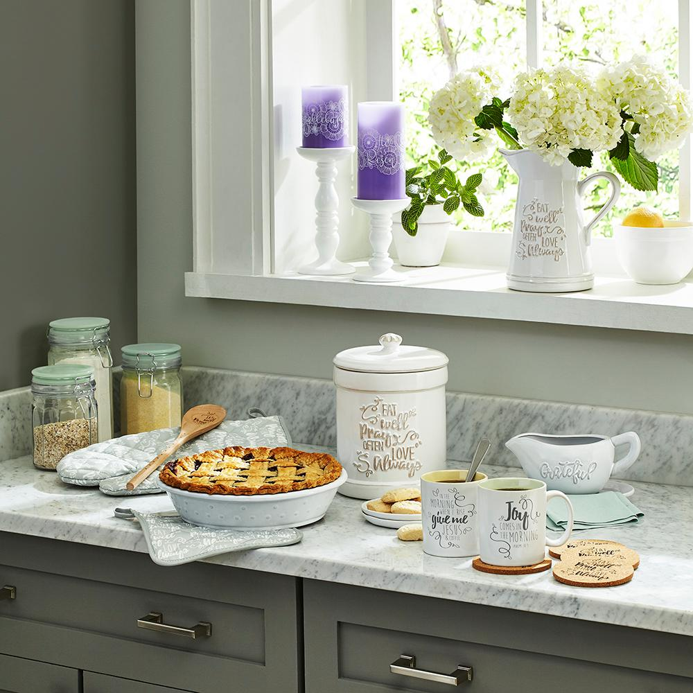 Kitchen Canister | Precious Moments Eat Well Pray Often Love Always Ceramic Kitchen