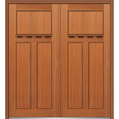 64 in. x 80 in. Classic Right-Hand Inswing Craftsman 3-Panel Stained Fiberglass Fir Prehung Front Door with Brickmould