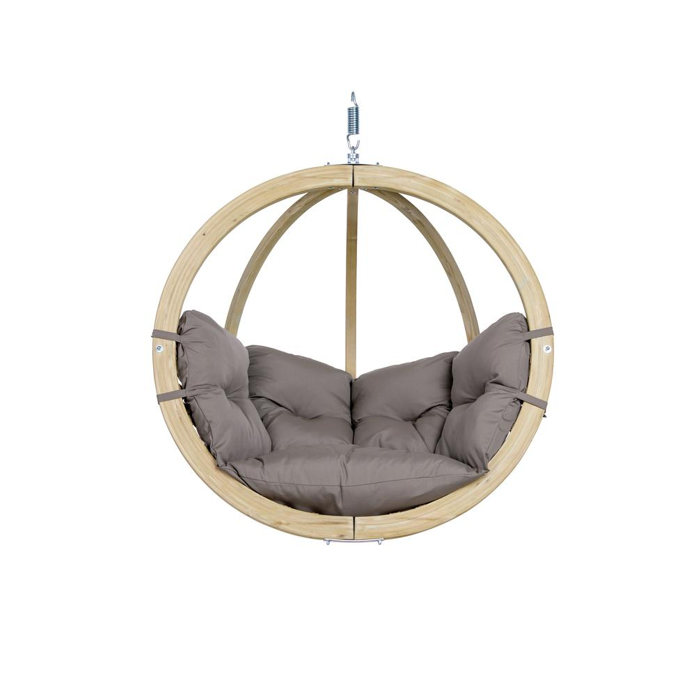 Globo Chair Single Person Laminated Spruce Patio Swing with Agora Taupe