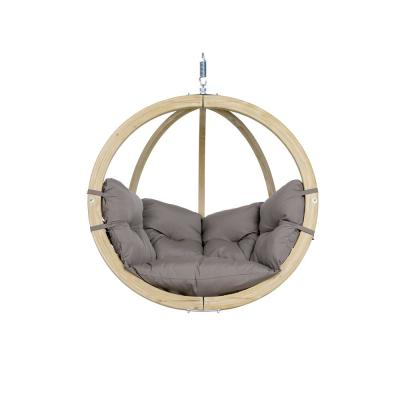 Globo Chair Single Person Laminated Spruce Patio Swing with Agora Taupe Cushion