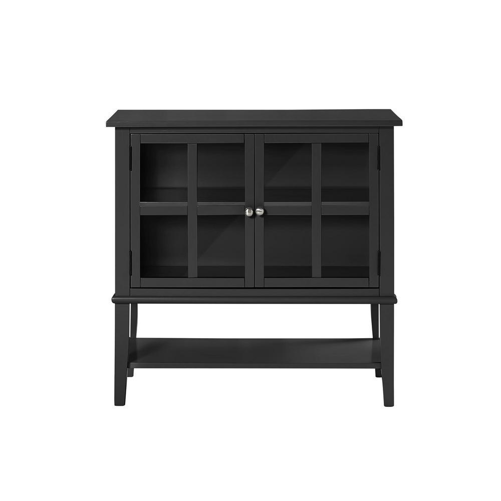 Queensbury 2-Door Black Storage Cabinet