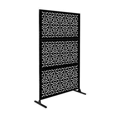 New Style MetalArt Laser Cut Metal Black Diamond Privacy Fence Screen (24 in. x 48 in. per Piece 3-Piece Combo)