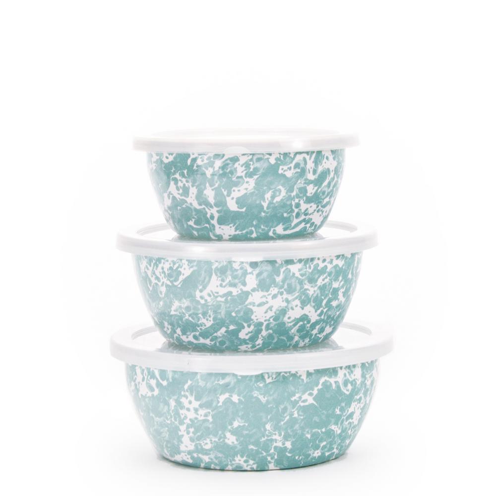 Golden Rabbit Sea Glass 3-Piece Enamelware Bowl Set with Lid GL30