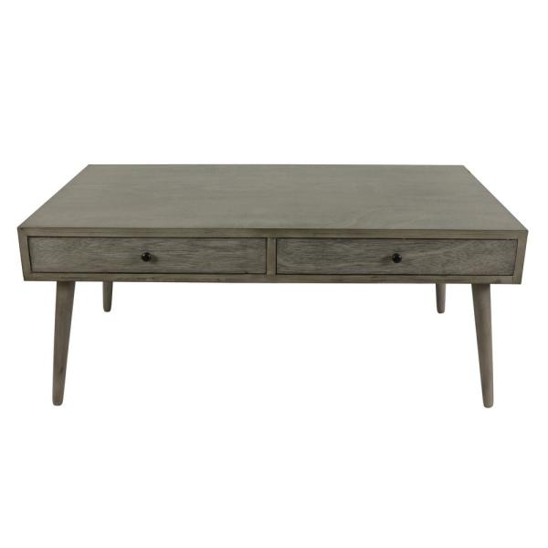Decor Therapy Mid 42 In Restoration Gray Large Rectangle Wood Coffee Table With Drawers Fr8677 The Home Depot