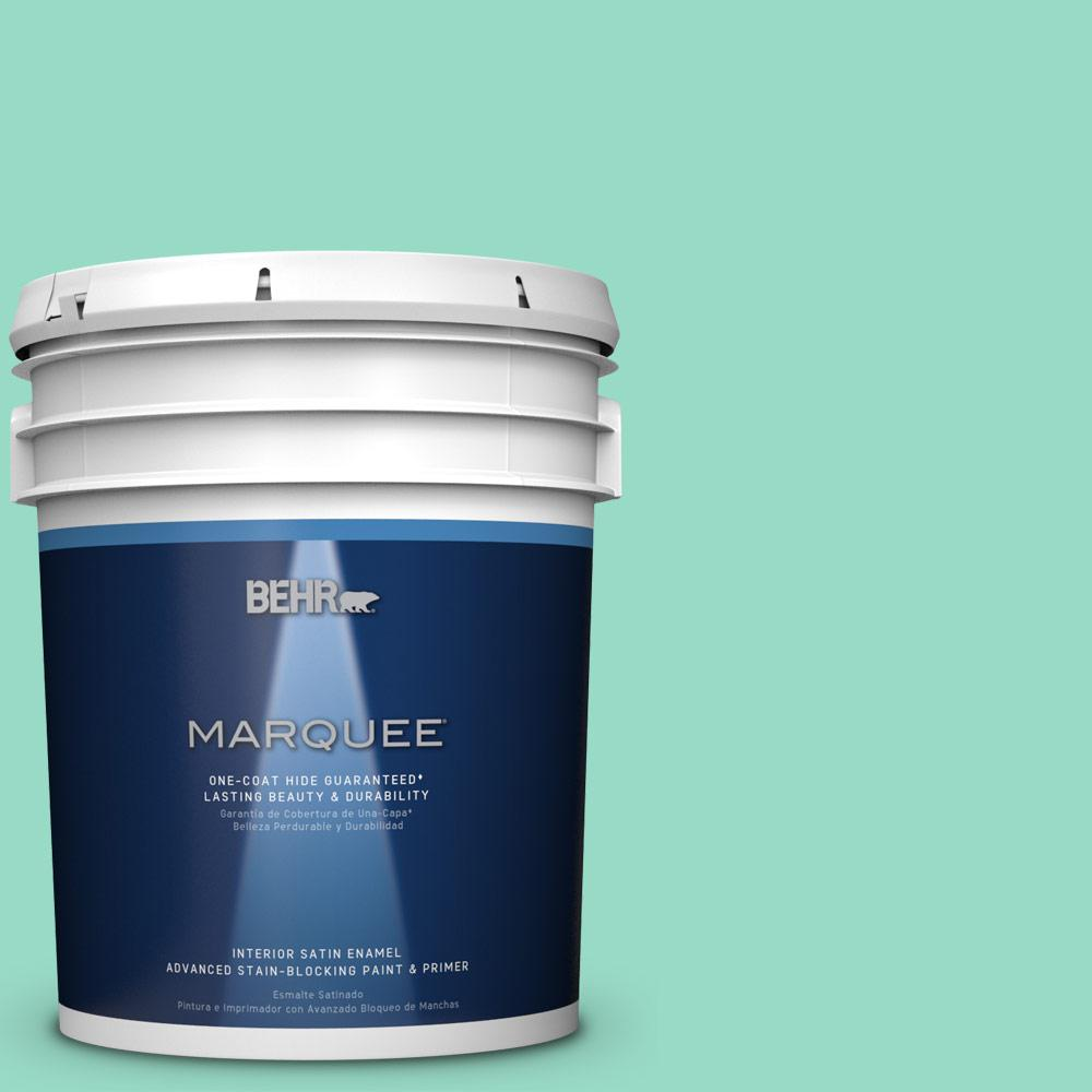 5 gal. #MQ4-17 Pageant Green One-Coat Hide Satin Enamel Interior Paint