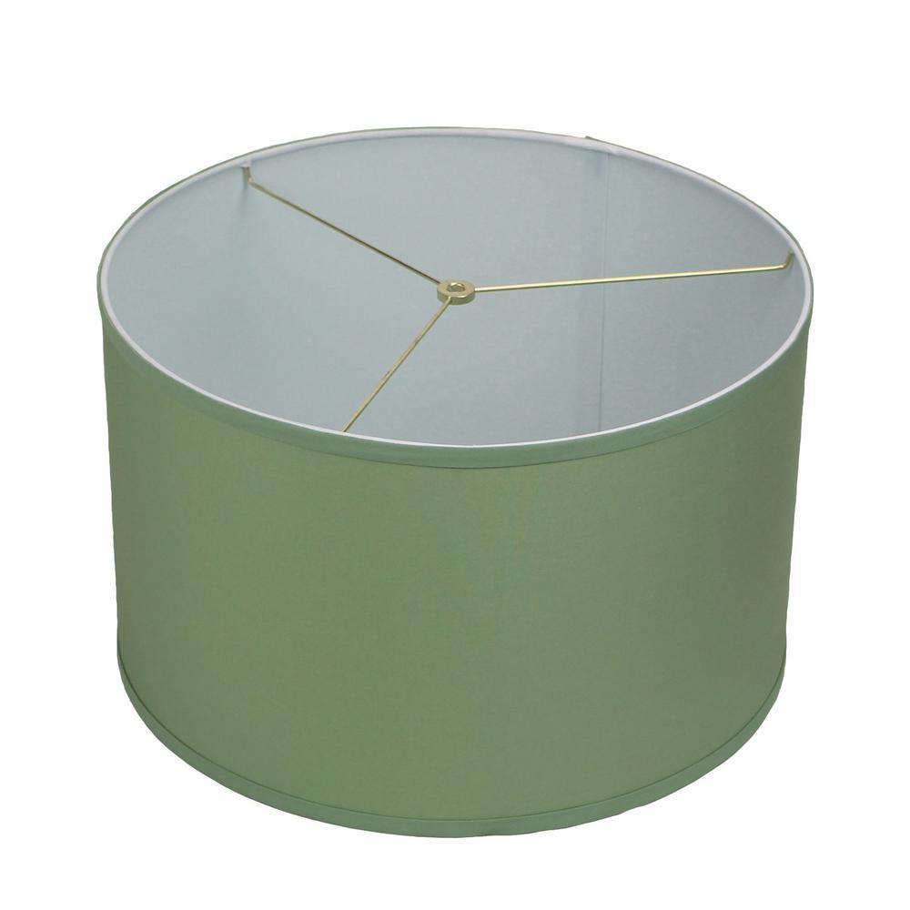 18 in. Top Diameter x 18 in. Bottom Diameter x 11 in. H Linen Celadon Drum Lamp Shade