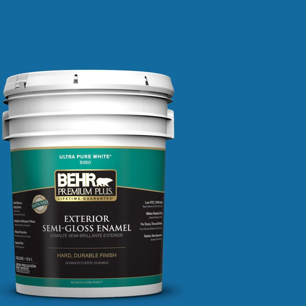 BEHR Premium Plus 5-gal. #P500-7 Cosmic Cobalt Semi-Gloss Enamel Exterior Paint