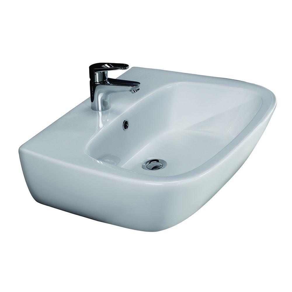 Elena 600 Wall-Hung Bathroom Sink in White