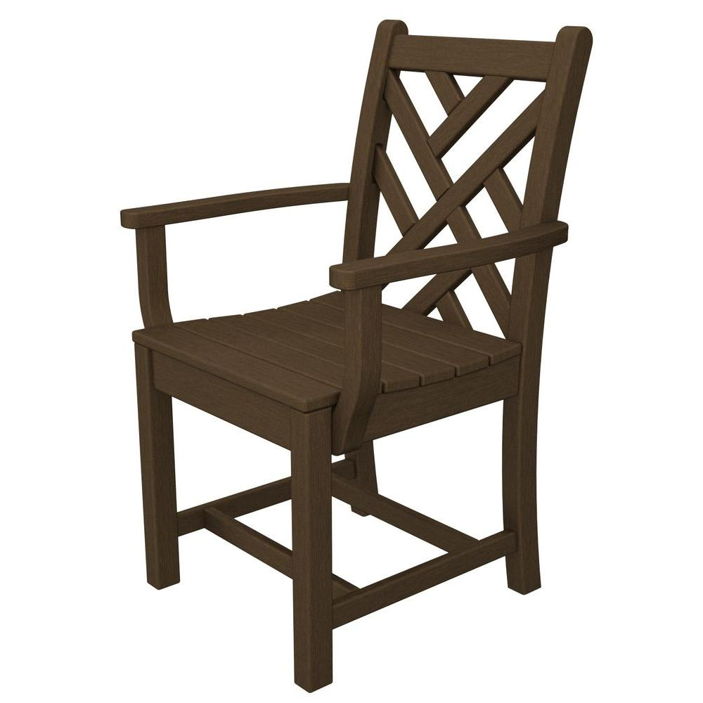 POLYWOOD Chippendale Teak All-Weather Plastic Outdoor Dining Arm Chair