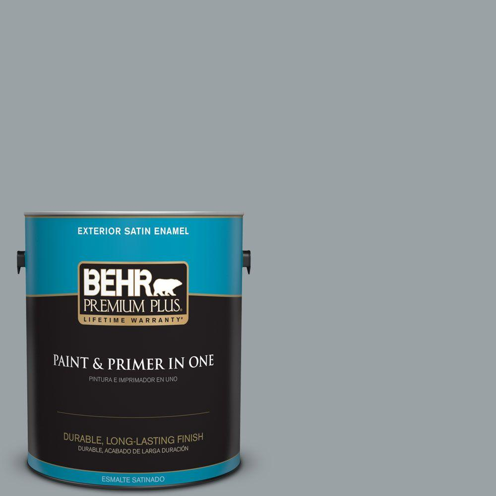 1 gal. #HDC-SM16-02 River Rock Grey Satin Enamel Exterior Paint