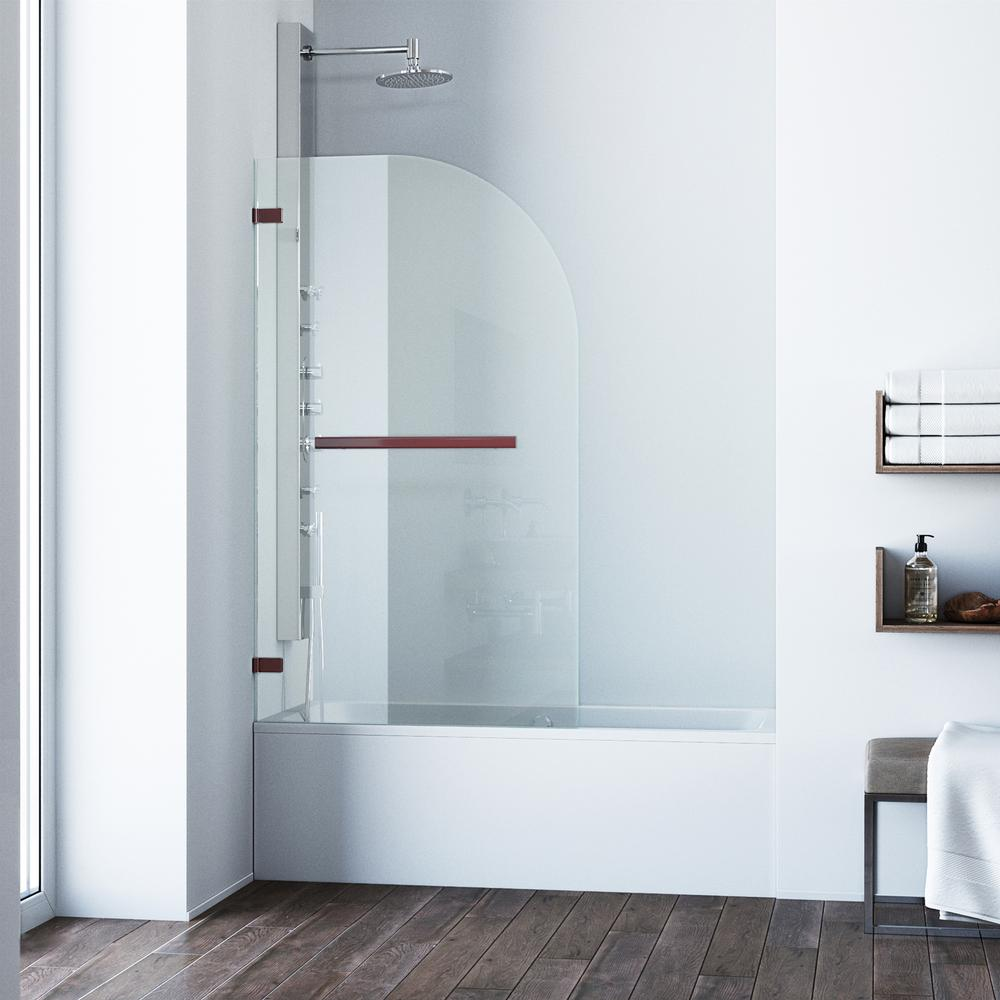 VIGO Orion 34 in. x 58 in. Frameless Curved Pivot Tub/Shower Door in ...
