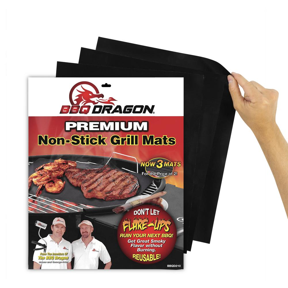 BBQ Dragon Grill Mats, Black Teflon-coated grill mats keep food from sticking to your grill while letting the searing temperatures come through. Super-tough and super-thin so you can sear those burgers and then slide them off the grill. Use your grill for so much more. Color: Black.