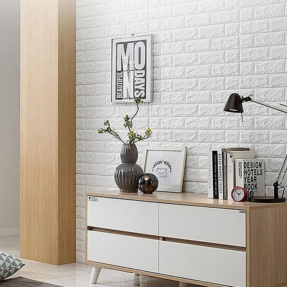 White HighlanderHome PE Foam 3D Brick Pattern Sticker For Wall Decor 24 in. x 24 in. (10-piece)