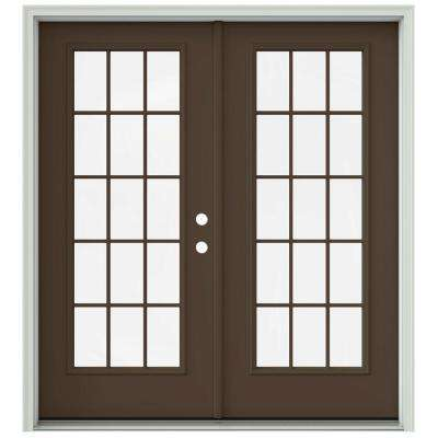 72 in x 80 in dark chocolate painted steel left hand inswing 15 - Glass For Patio Door