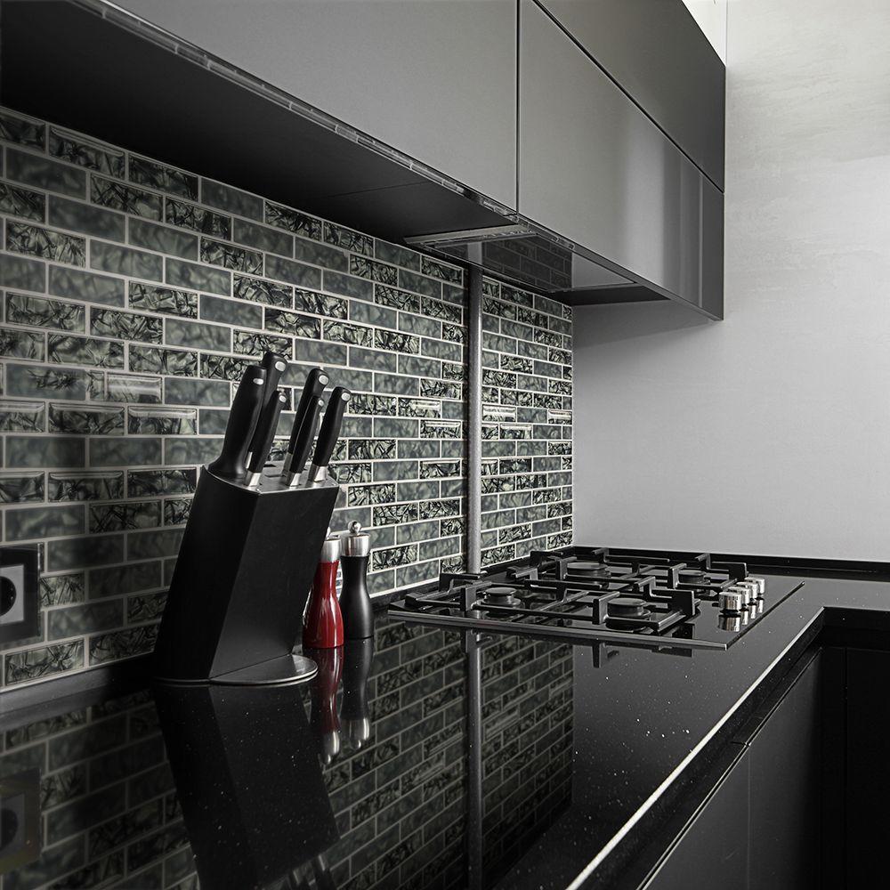 Jeffrey Court Black Magic 12 In X Gl Brick Mosaic Tile