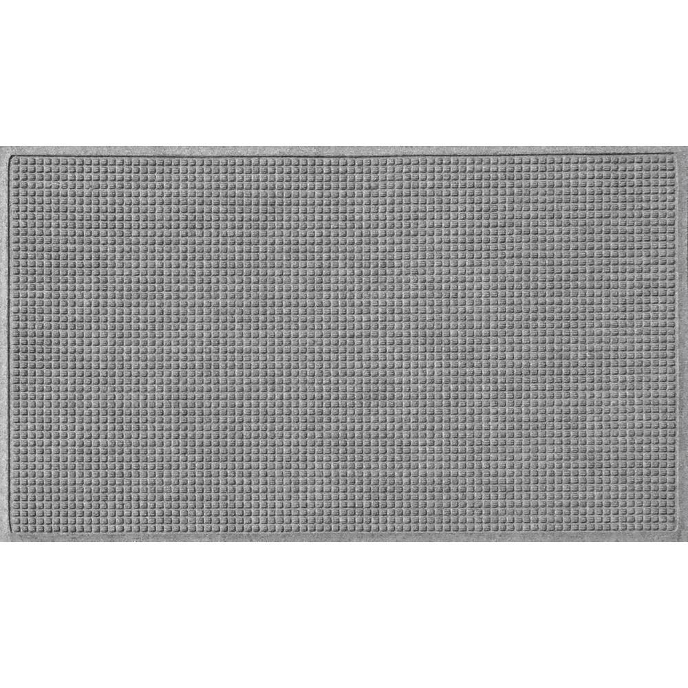 Medium Gray 36 in. x 84 in. Squares Polypropylene Door Mat