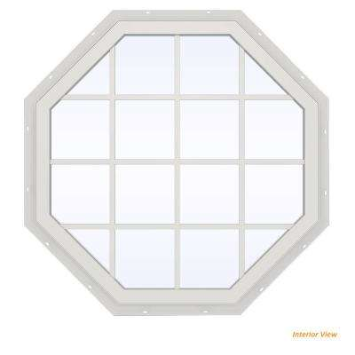 47.5 in. x 47.5 in. V-2500 Series Brown Painted Vinyl Fixed Octagon Geometric Window with Colonial Grids/Grilles