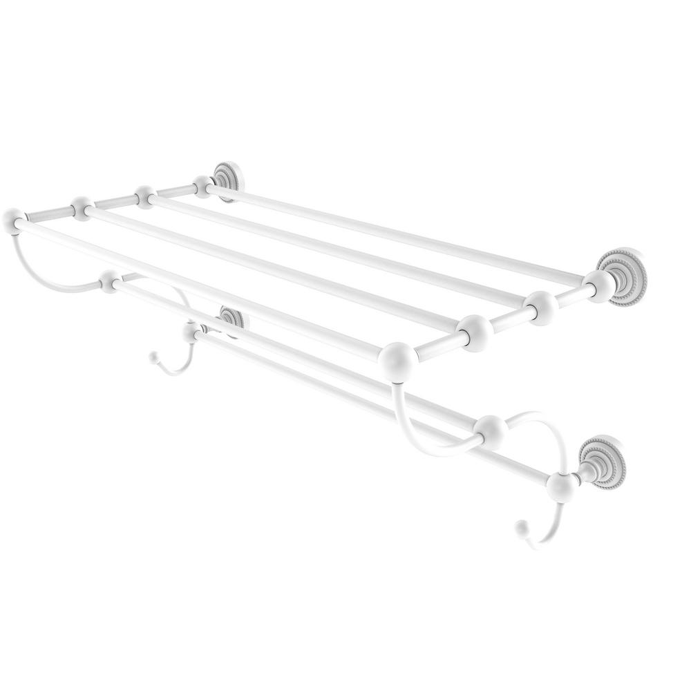 Allied Brass Dottingham 36 in. Train Rack Towel Shelf in Matte White