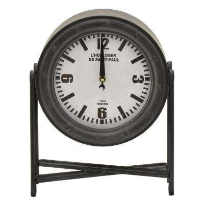 14 in. Gray Round Metal Table Top Clock